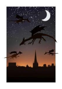 Dragon sky silhouette